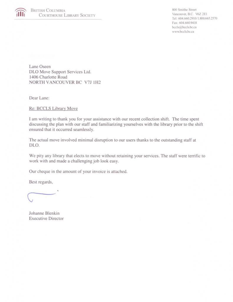 DLO office moving experts - bc courthouse library society testimonial