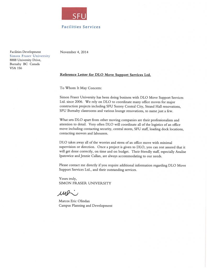 DLO office moving experts - sfu burnaby reference letter