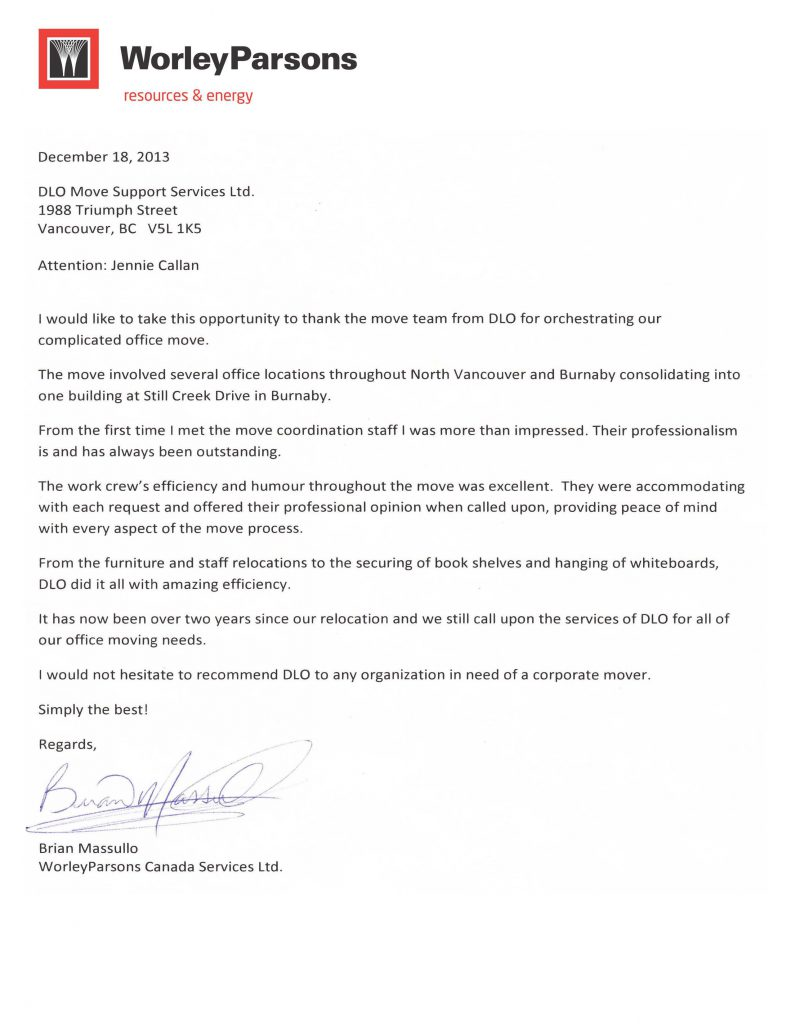DLO office moving experts - Testimonial worley parsons canada dec 2013