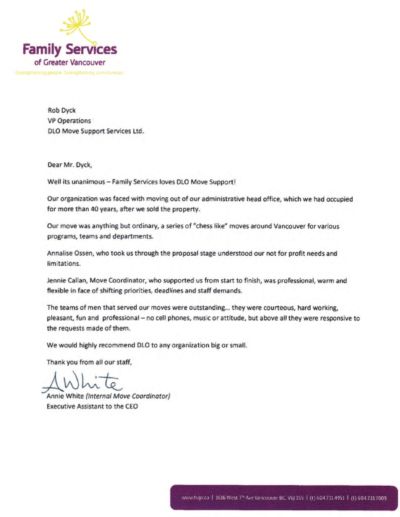 DLO office moving experts - family services gv testimonial